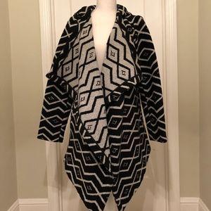 BB Dakota Black Patterned Wrap Coat with Belt